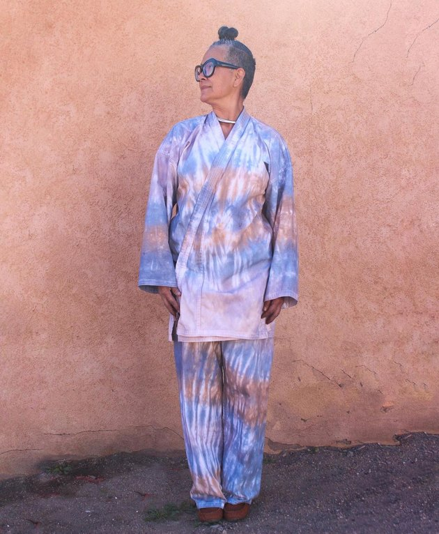 Amy Yeung of Orenda Tribe in purple tie-dye set