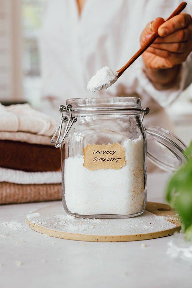 Homemade recipe for DIY laundry detergent for sensitive skin