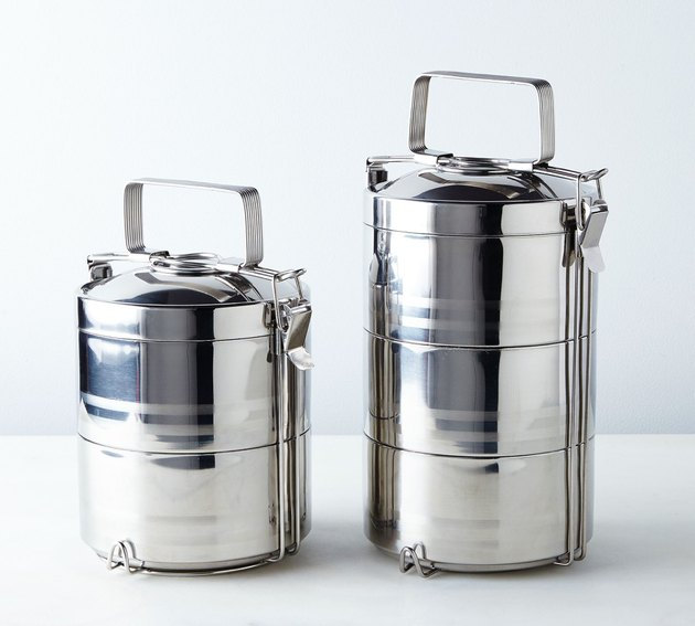 tiered metal tiffin food storage container