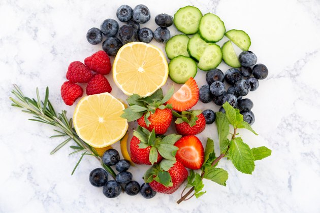 Fruit and herbs for infused ice cubes