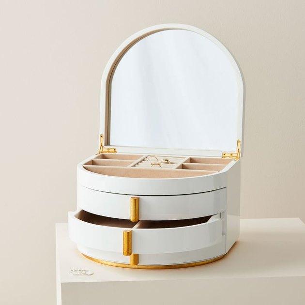 white jewelry organizer with mirrored lid