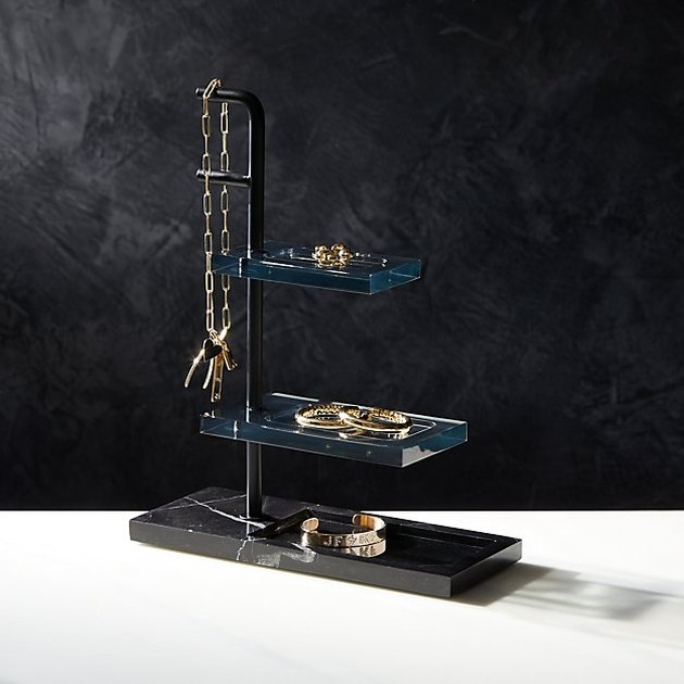 black marble and acrylic tiered jewelry organizer