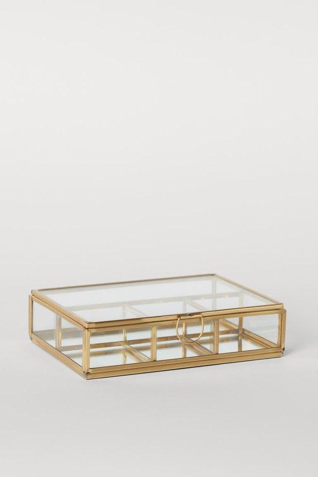clear jewelry organizer with metal frame