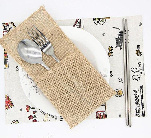 Cheonus Wedding Studio 10-Piece Burlap Cutlery Bags