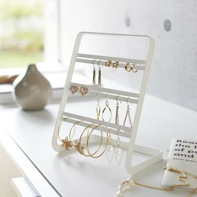 white earring jewelry organizer with three tiers