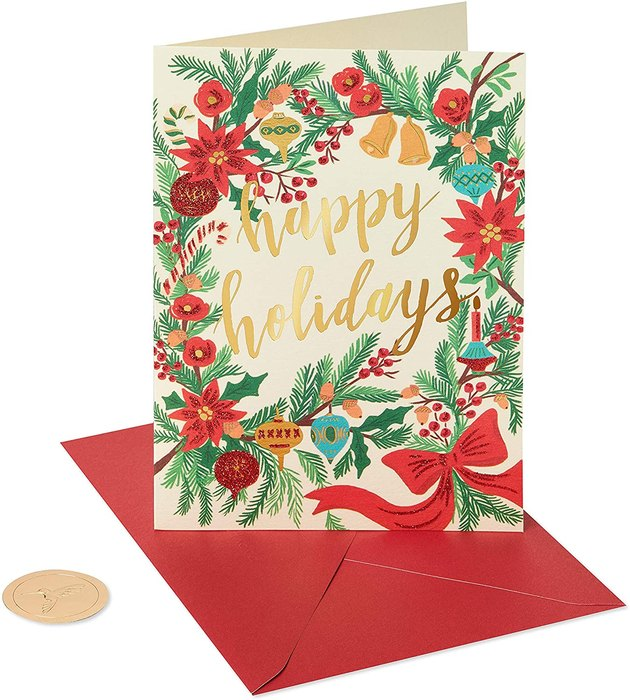 Papyrus Happy Holidays Cards with red and green illustrations