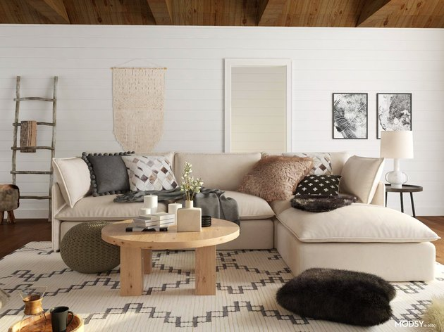 living room with natural textures