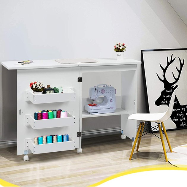 Craft Table with Storage folding cabinet