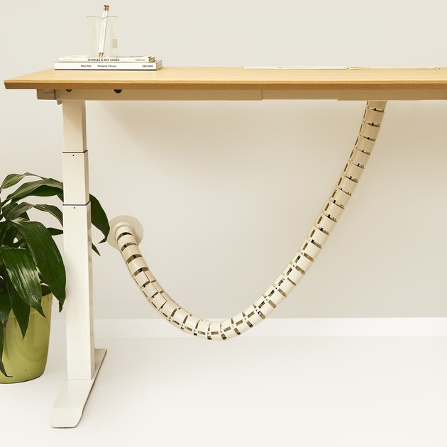 office organization supplies, desk with wire organizer hanging from underneath