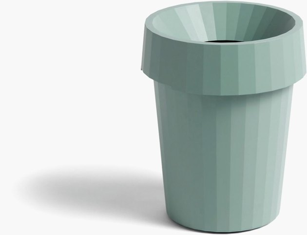 office organization supplies, green trash bin with lid
