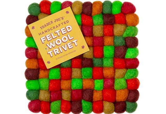 multicolored felted wood trivet