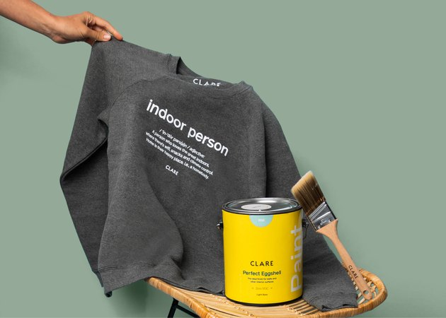 sweatshirt and paint can