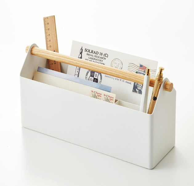 office organization supplies, white desk caddy with pens and notes