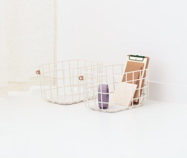 office organization supplies, white wire baskets