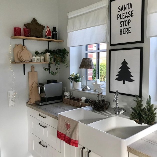kitchen with christmas art