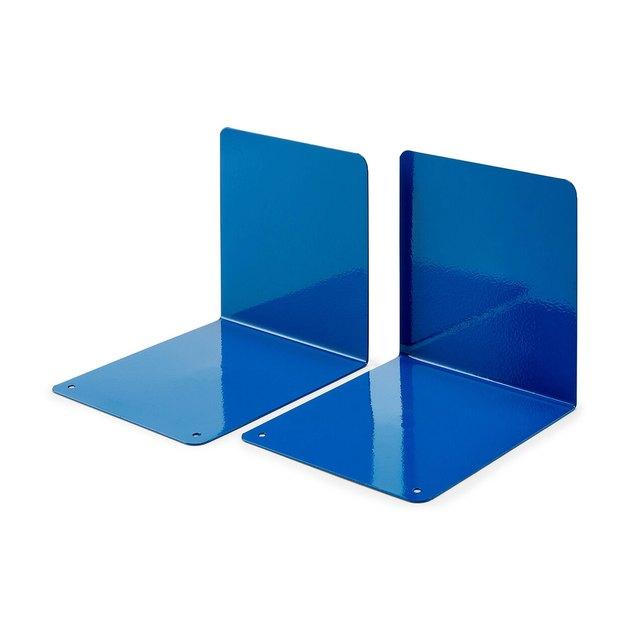 office organization supplies, blue minimalist bookends