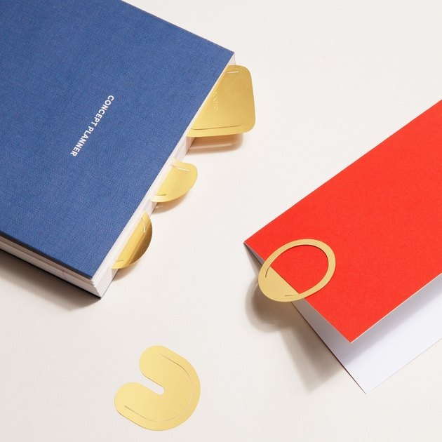 office organization supplies, red and blue books with gold paperclips