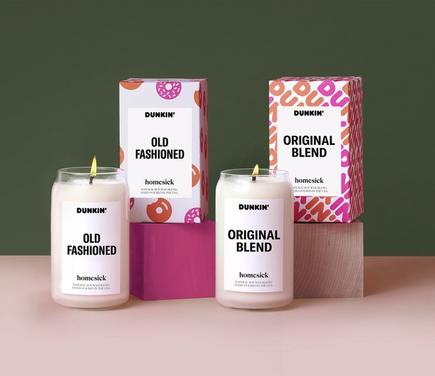 homesick and dunkin's original blend and old fashioned candles with packaging