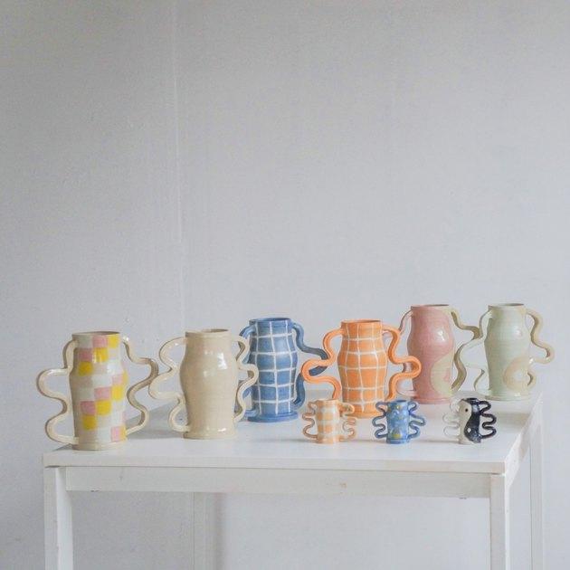 contemporary ceramics vases in pastel color palette