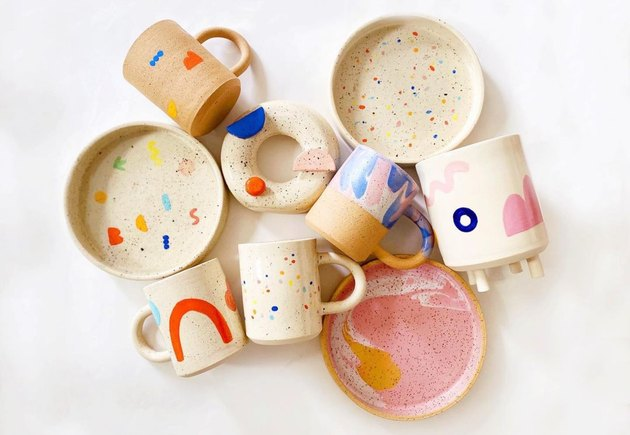 abstract contemporary ceramics with geometric shapes