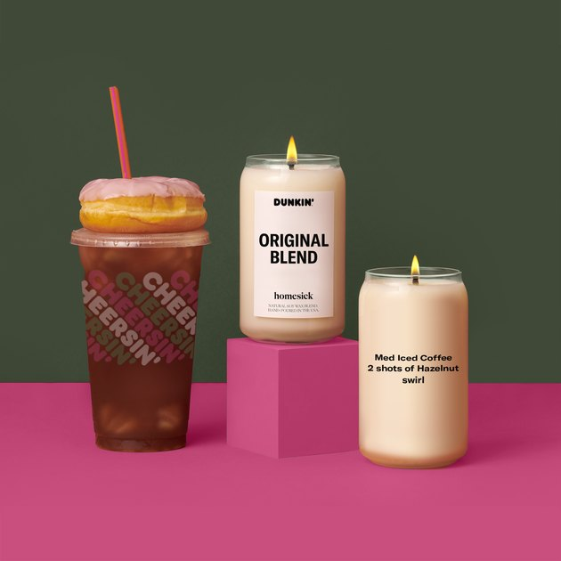 the homesick and dunkin' original blend candle, a customized candle, and a dunkin' coffee and donut