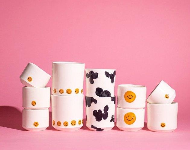 contemporary ceramics with smily faces