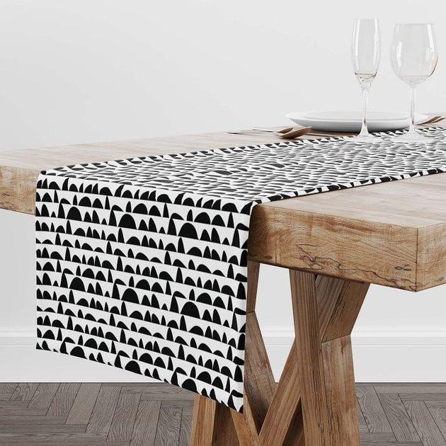 Rochelle Porter Design Table Runner in black and white pattern
