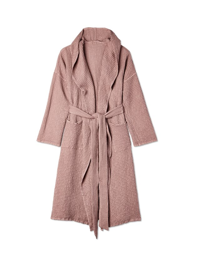 MagicLinen Hooded Cotton Waffle Robe, $116