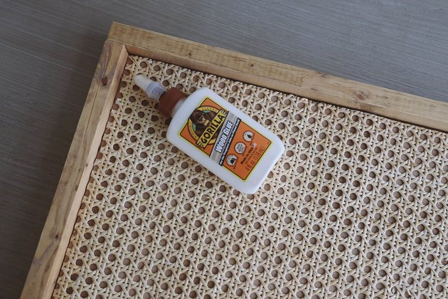 Cane and wood tray with wood glue