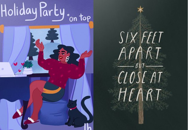 """two holiday cards side by side, one reads """"holiday party on top"""" and the other """"six feet apart and close at heart"""""""