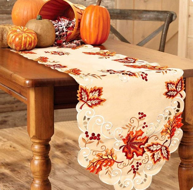 Our Warm Embroidered Fall Table Runner