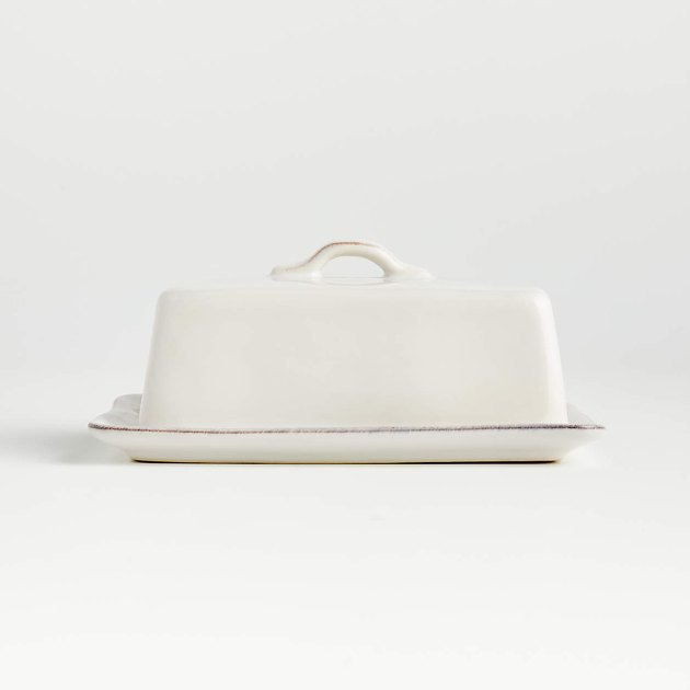 Crate & Barrel Marin White Covered Butter Dish