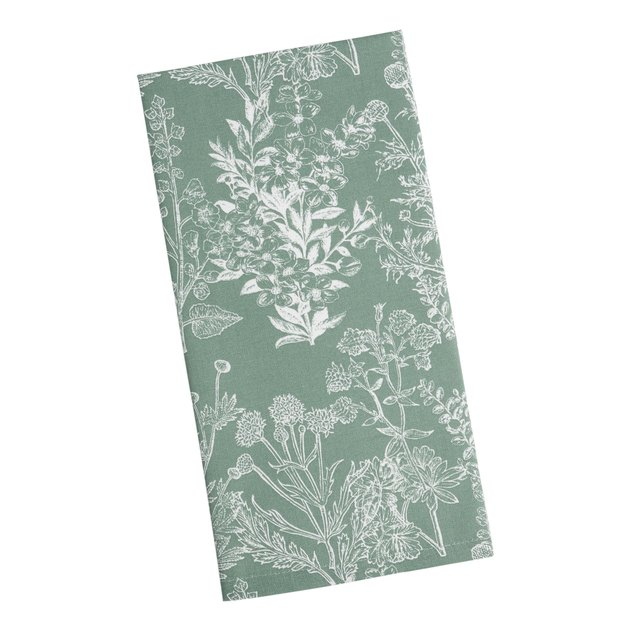 World Market Wild Botanical Print Kitchen Towel in sage green