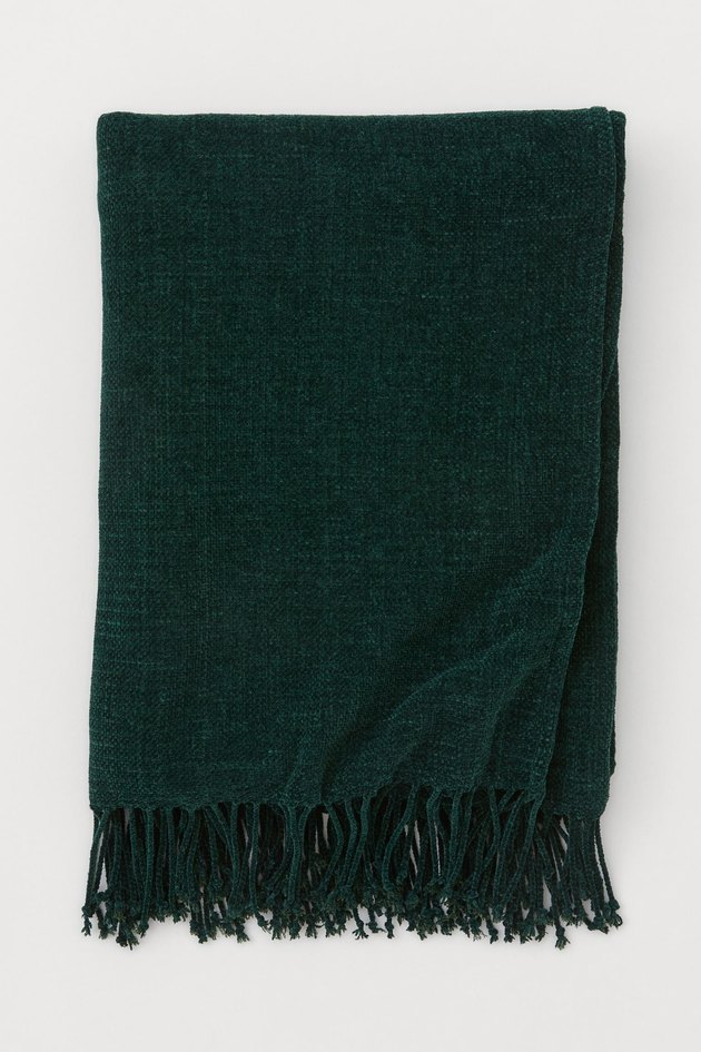 H&M Throw with Fringe in green