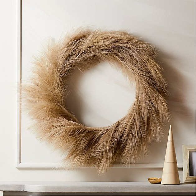 CB2 Faux Pampas Taupe Wreath