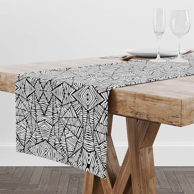 Rochelle Porter Design black and white pattern table runner