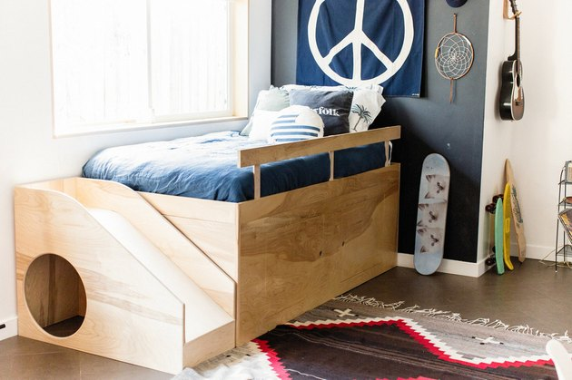 Kid's Room Organization Guide cool bed with sotrage underneath and slide