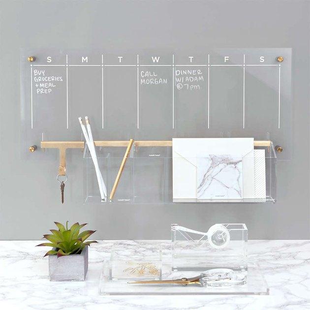 Russell + Hazel Acrylic Weekly Dry-Erase Calendar and Desk Organizer