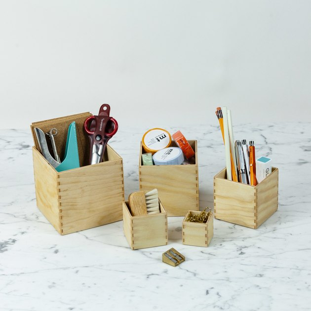 Grimm's Toys Small Set of 5 Boxes as Desk Organizers