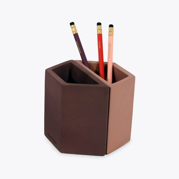 Wit & Delight Pink Concrete Pencil Holder as Desk Organizer from design loop