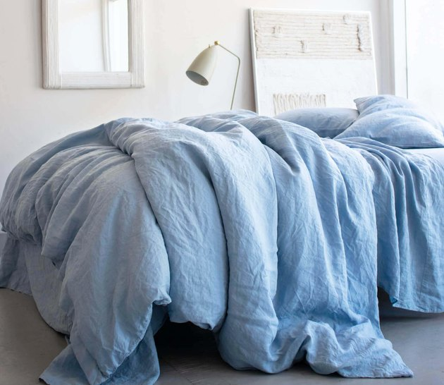 Rough Linen Sky Linen Duvet Cover, $269