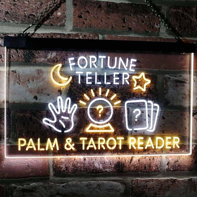 Fortune Teller Palm Tarot Reader Dual Color LED Neon Sign White & Orange