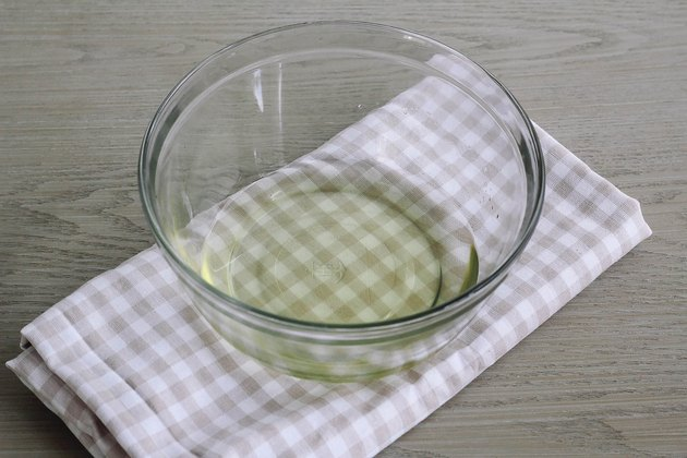 Soy wax melted in glass bowl
