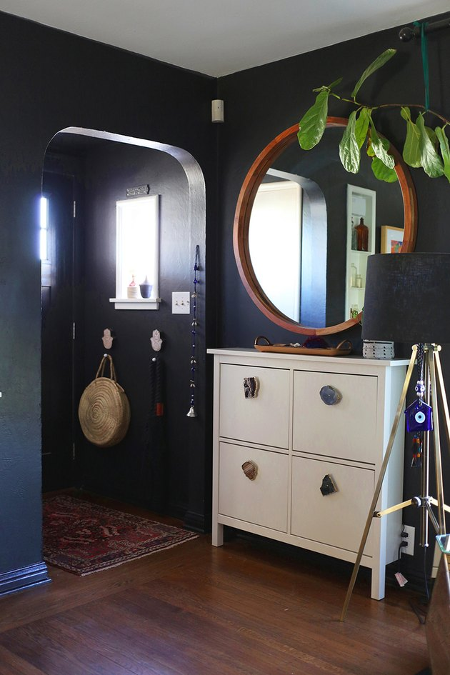 entryway shoe storage with white IKEA cabinet with geode pulls