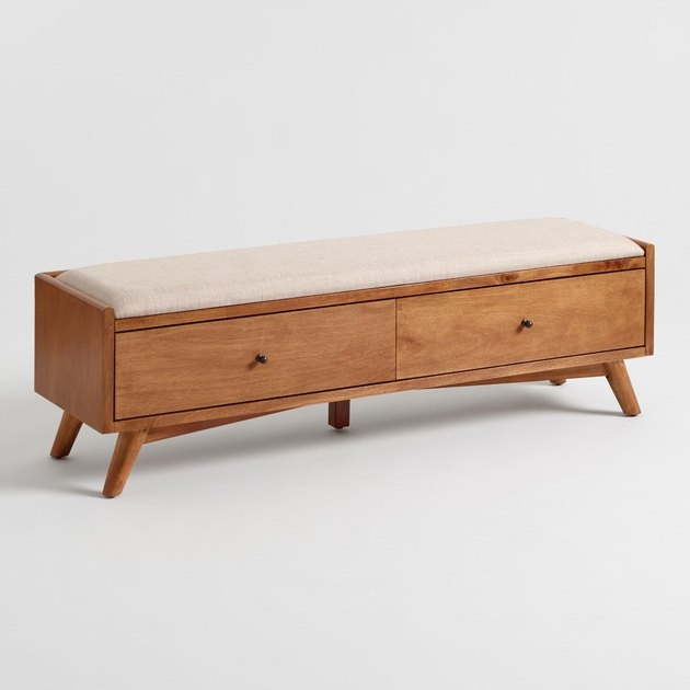 midcentury bedroom storage bench with cushioned top