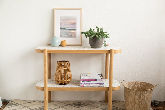 IKEA console table with removable wallpaper