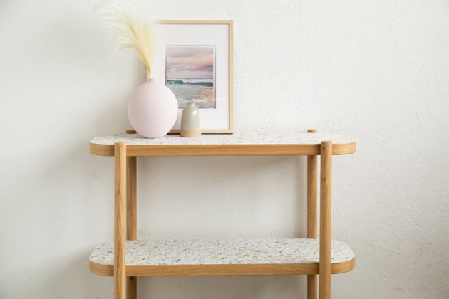 IKEA Hack Listerby table with removable wallpaper