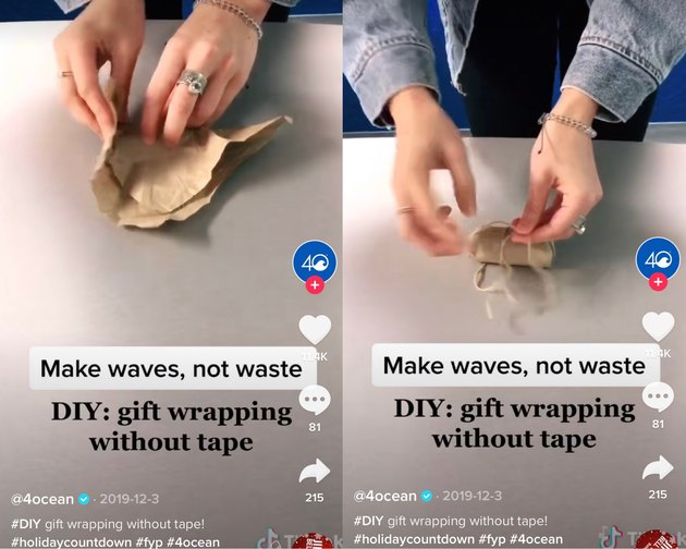 wrapping paper hack on tiktok using no tape and only twine to hold present in place