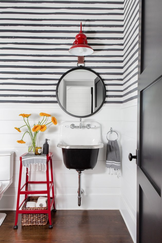 black and white bathroom with small trough Farmhouse Bathroom Sink