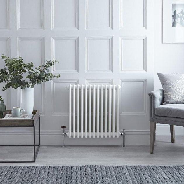 White Horizontal 3-Column Traditional Cast-Iron Style Radiator